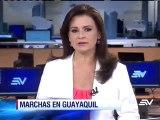 Normalidad en las marchas a favor y contra el Gobierno en Guayaquil