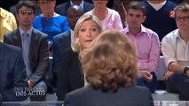 """Marine Le Pen attaque Jean-Christophe Cambadélis sur ses supposés faux diplômes pendant """"Des Paroles et Des Actes"""" sur France 2, jeudi 18 septembre 2014"""