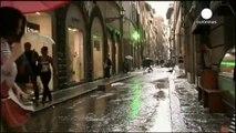 Giant hail stones rain down on Italian city of Florence