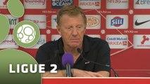 Conférence de presse Stade Brestois 29 - AC Arles Avignon (1-0) : Alex  DUPONT (SB29) - Franck  DUMAS (ACA) - 2014/2015