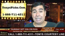 Sports Betting Picks Thursday College Football Predictions Point Spread Odds 9-25-2014