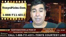 Penn St Nittany Lions vs. Northwestern Wildcats Free Pick Prediction College Football Point Spread Odds Betting Preview 9-27-2014