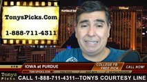 Iowa Hawkeyes vs. Purdue Boilermakers Free Pick Prediction College Football Point Spread Odds Betting Preview 9-27-2014
