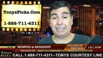 Mississippi Rebels vs. Memphis Tigers Free Pick Prediction College Football Point Spread Odds Betting Preview 9-27-2014
