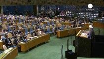روحاني يندد من الأمم المتحدة باستراتيجية الغرب في الشرق الأوسط واصفا إيها بالمغلوطة