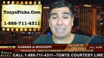 Mississippi Rebels vs. Alabama Crimson Tide Free Pick Prediction College Football Point Spread Odds Betting Preview 10-4-2014