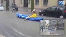 Ils se promènent en kayak dans les rues de Montpellier