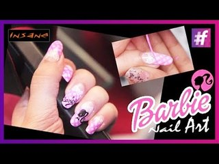 Pretty Barbie Nail Art Tutorial | Cute Nail Art Designs