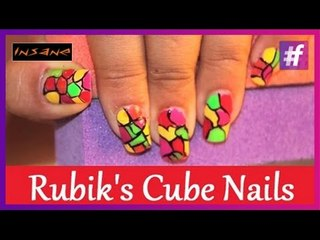 Block Nail Art | Rubik's Cube Nails | Nail Art Tutorial