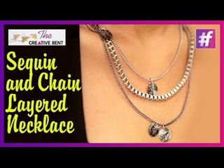 DIY Sequin and Chains Layered Necklace