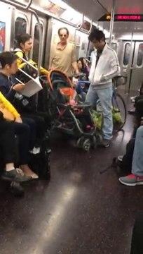 Crazy Flower Man Threatens Family on NYC F Train Subway