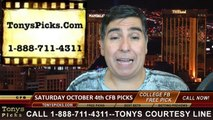 College Football Saturday Free Picks Betting Point Spread Odds Predictions 10-4-2014