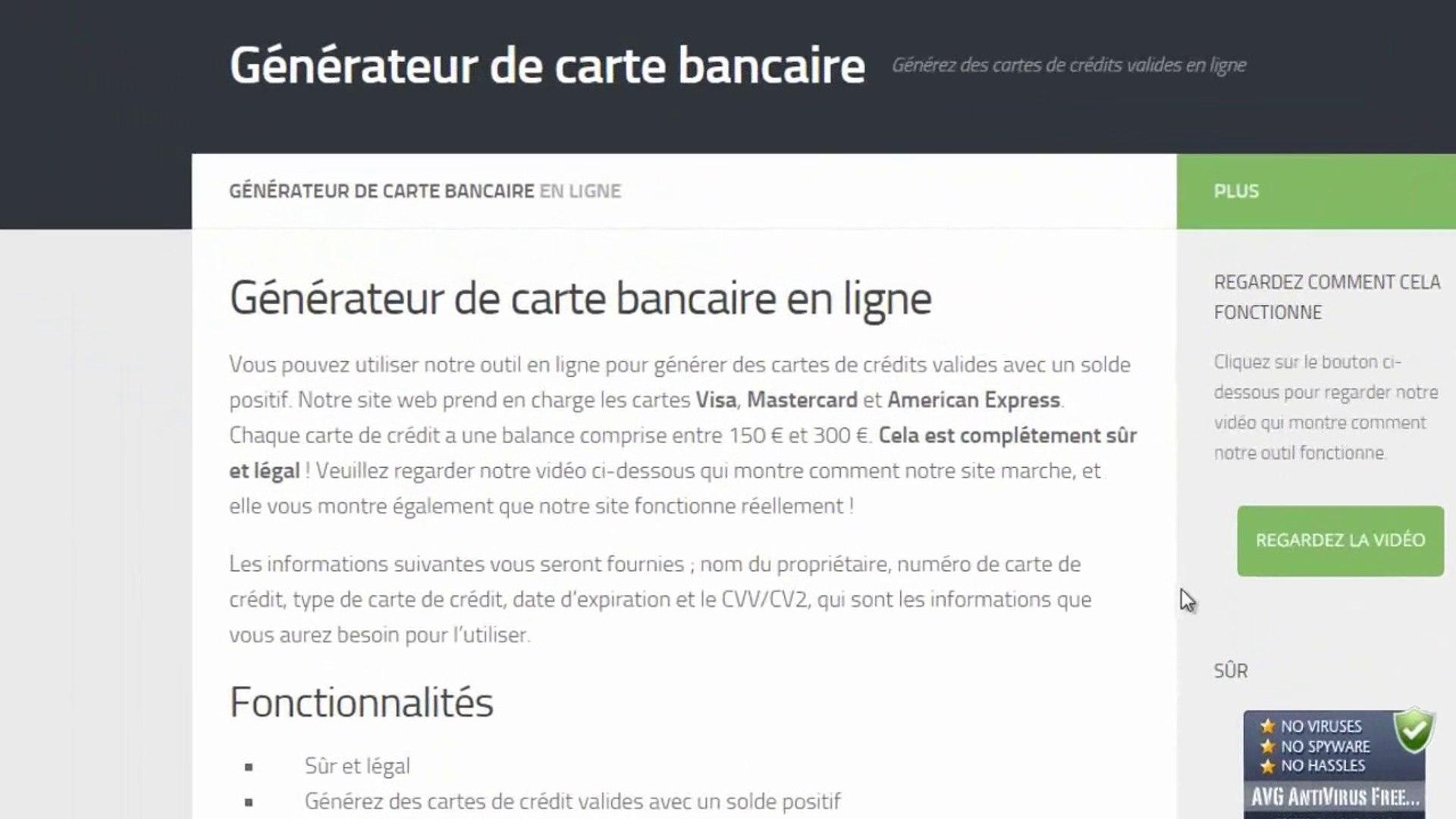 Generateur De Carte Bancaire En Ligne Generer Des Cartes De Credits Valides Video Dailymotion