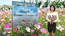 Cool autumn day ahead under mostly sunny skies