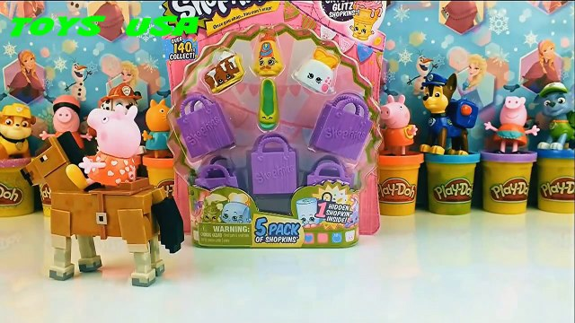 Shopkins and Masha i Medved Peppa Pig Маша и Медведь meet new friends Paw Patrol Play Doh