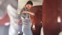 Beautiful Girl Dancing on Airplane Up in the Air