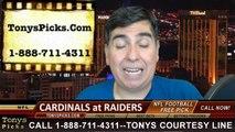 Oakland Raiders vs. Arizona Cardinals Free Pick Prediction NFL Pro Football Odds Preview 10-19-2014