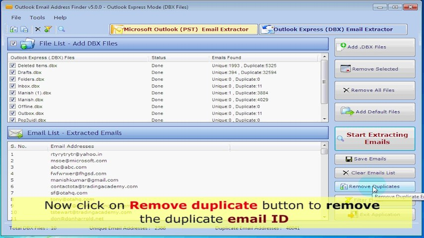 How to extract email addresses from outlook?
