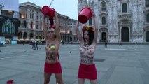 Vertice Asem, protesta di due attiviste Femen in centro a Milano