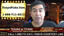 Tennessee Titans vs. Houston Texans Free Pick Prediction NFL Pro Football Odds Preview 10-26-2014