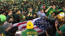 Oregon Students Play Beer Pong in Stands During Game