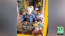 Kids stuck in stuff - Toddler rescued after crawling into toy vending machine.