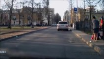 [+18 ~ Sexy Funny Girl]Russian Woman Driver Runs Down Pedestrian... For Walking Too Slow