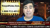 Georgia Tech Yellow Jackets vs. Virginia Cavaliers Free Pick Prediction NCAA College Football Odds Preview 11-1-2014