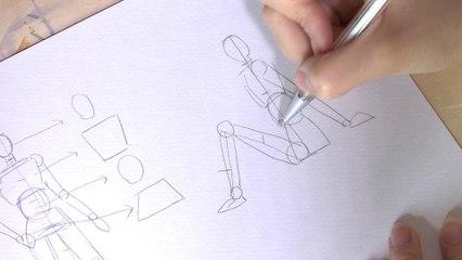 Dessin : Proportions d'un corps assis par terre