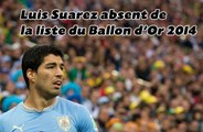 Luis Suarez dépité d'être absent de la liste du Ballon d'Or 2014