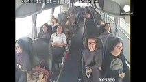 Shocking CCTV footage - Bus driver disarms knife-wielding attacker, saving passengers.