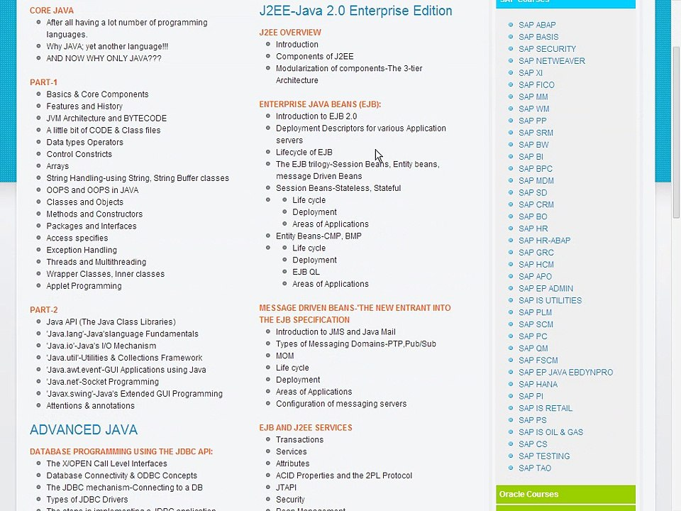 Java, Adv Java, J2EE Course Content - Java, Adv Java, J2EE Online Training  and Placement