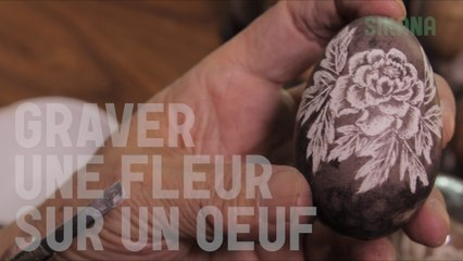 Graver une fleur sur un oeuf - Sculpture sur oeuf