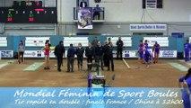 Finale tir rapide en double, France contre Chine, Championnat du Monde Féminin de Sport Boules, Mâcon 2014