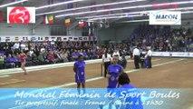 Finale tir progressif, France contre Chine, Championnat du Monde Féminin de Sport Boules, Mâcon 2014