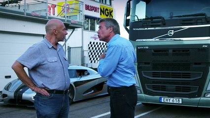 Course entre un camion Volvo FH et une Koenigsegg One | 1001Pneus