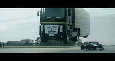 Truck Jumps over Formula 1 : Epic World-Record for a tv ADS by EMC and Lotus F1 Team