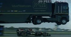 Truck Jumps Over Lotus F1 Car Beating Truck Jump World Record