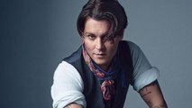 Details Celebrities - Johnny Depp Plays Guitar at the Details 2014 Cover Shoot