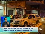 Hallan un cadáver dentro de un saco en el centro de Guayaquil