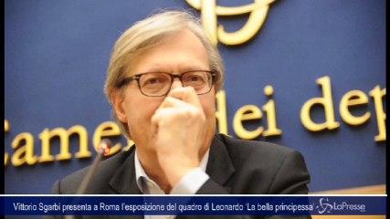 Vittorio Sgarbi presenta a Roma l'esposizione del quadro di Leonardo 'La bella principessa'