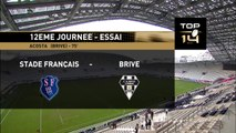 TOP14 - Stade Français-Brive: Essai Karlen Asieshvili  (BRI) - J12 - Saison 2014/2015