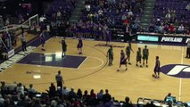 Basket-ball player fakes handshake, steals ball and dunks it.