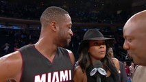 Actrice Gabrielle Union Videobombs NBA player and husband Dwyane Wade Postgame (Miami Heat)