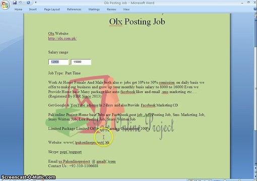 olx Posting Job