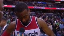 Le joueur de NBA John Wall en pleurs après sa victoire contre les Celtics