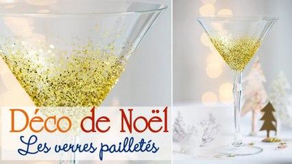 Customiser ses verres avec des paillettes pour Noël - DIY déco