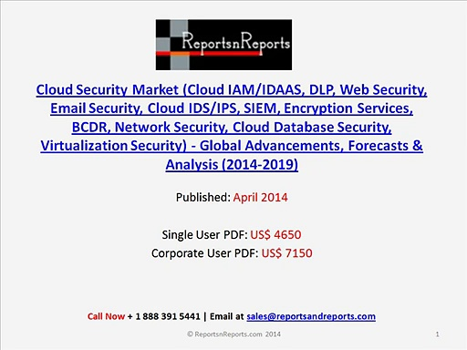 Worldwide Cloud Security Market (Encryption Services, BCDR, Network Security) to 2019