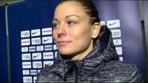 Laure Boulleau (PSG & équipe de France) interviewée par Christian Estevez, à l'issue du match PSG - E.A. Guingamp, le 7 décembre 2014, à Charlety.