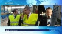 Emmanuel Macron , en visite dans les Landes, invité du 12/13 Aquitaine